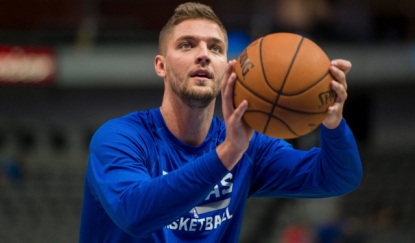 Oct 10, 2014; Dallas, TX, USA; Dallas Mavericks forward Chandler Parsons (25) warms up before the game against the Oklahoma City Thunder at the American Airlines Center. Mandatory Credit: Jerome Miron-USA TODAY Sports