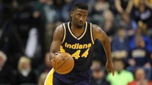 Feb 22, 2015; Indianapolis, IN, USA; Indiana Pacers guard Solomon Hill (44) brings the ball up court against the Golden State Warriors at Bankers Life Fieldhouse. Indiana defeats Golden State 104-98. Mandatory Credit: Brian Spurlock-USA TODAY Sports
